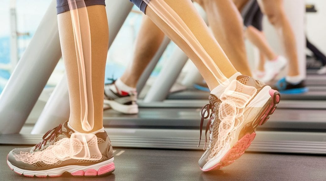 Highlighted ankle of woman on treadmill; blog: 7 Lifestyle Tips for Good Bone Health